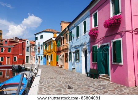 Colorful houses in Burano, one of the islands around Venice in Italy