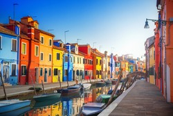 Colorful houses in Burano, Venice, Italy.