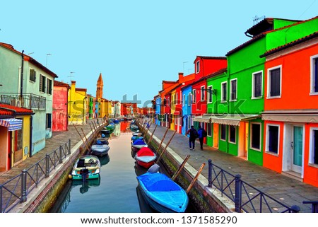 Colorful houses in Burano, Venice, Italy #1371585290