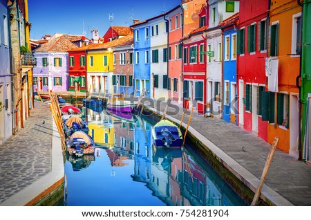 Colorful houses in Burano, Venice, Italy #754281904
