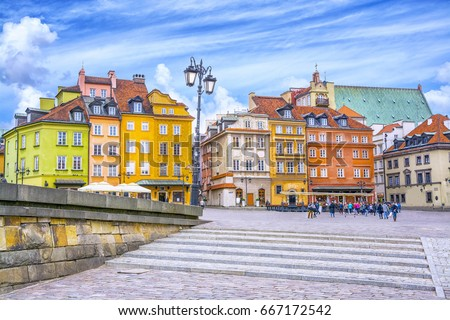 Colorful houses in Castle Square in the Old Town of Warsaw, capital of Poland. #667172542