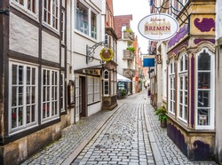 Colorful houses in historic Schnoorviertel in Bremen, Germany