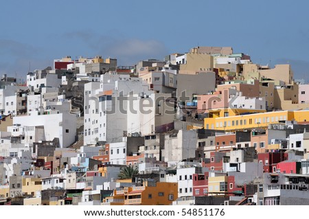 Colorful houses in Las Palmas de Gran Canaria, Spain