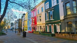 Colorful houses in Notting Hill district in London