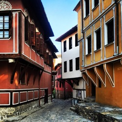 Colorful houses in Old Town Plovdiv, Bulgaria
