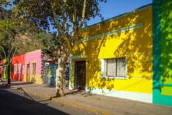 Colorful houses in Santiago city street, Chile