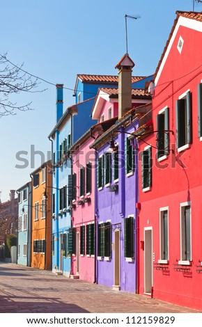 Colorful houses in the island of Burano near Venice, Italy