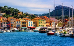 Colorful houses in the popular resort town Cassis by Marseilles, Provence, France