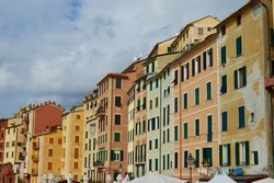Colorful houses in the quaint city of Camogli, Italy