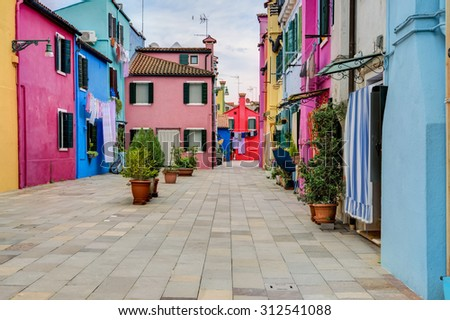 Colorful houses of Burano island, Venice, Italy. Taken on August 21, 2015. #312541088