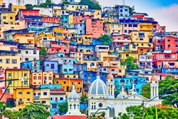 colorful houses of Las Penas on santa Anna hill district landmark of Guayaquil Ecuador in south america