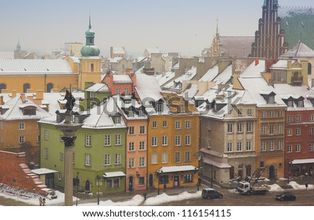 colorful houses of old town in winter, Warsaw, Poland