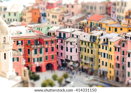 Colorful houses of Vernazza with tilt-shift effect. Cinque terre. Italy - stock photo