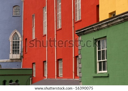 Colorful houses on a row in a Dublin street, Ireland