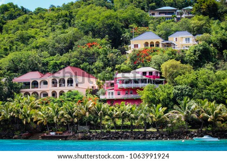 Colorful houses on Tortola #1063991924