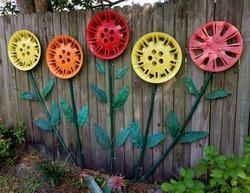 Colorful Hub Cap yard ornament