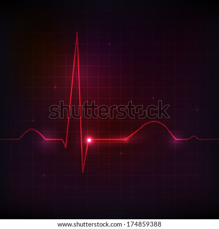 Colorful human heart normal sinus rhythm electrocardiogram record Bright and bold design