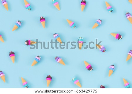 colorful ice cream pattern on blue background