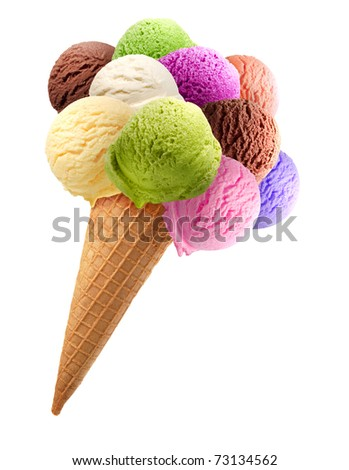 Colorful ice cream scoops on white background