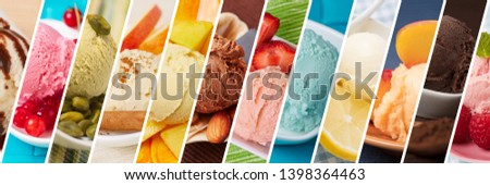 Colorful ice cream variety with different varieties as a background header