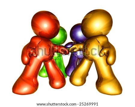 stock photo : Colorful icon figures working together as solid team