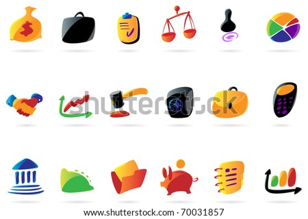Colorful icons for business, finance and legal. Raster version. Vector version is also available.