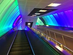 Colorful illuminated escalator in Levent, Istanbul