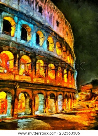 Colorful illumination of Coliseum at night painting