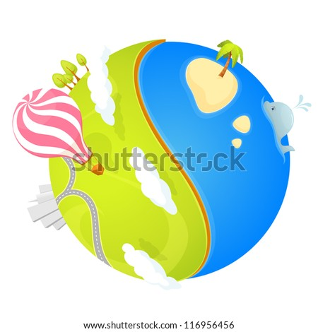 colorful illustration of a cute small planet with ocean and green landscape with trees, city and air balloon