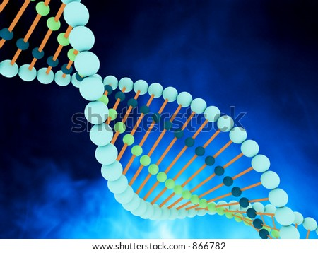 Colorful illustration of DNA strands - stock photo
