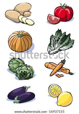 Colorful illustration of eight vegetables: potatoes - tomatoes - pumpkin - lettuce - artichokes - carrots - eggplants - lemons - stock photo