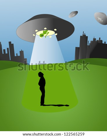 Colorful Illustration with UFO; alien and silhouette