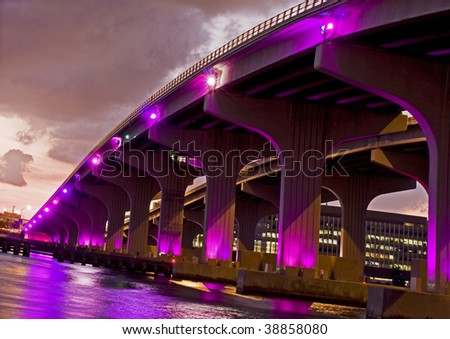 Colorful image of a bridge in Miami Florida at sunset
