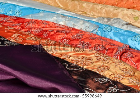 Colorful Indian Fabric at Market