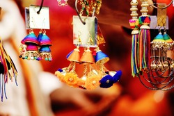Colorful Indian Jewelry for sale at a shop in Udaipur, Rajasthan, India.