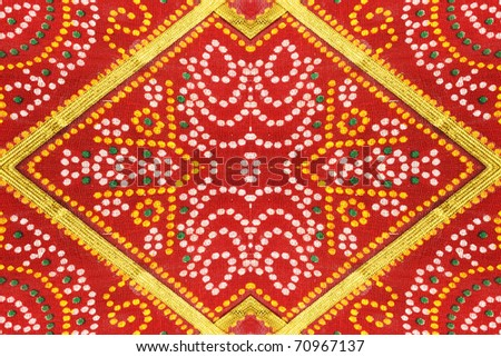 Colorful Indian Saree Fabric Floral Patterned Background
