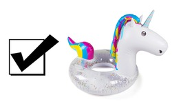 Colorful Inflatable Unicorn Ride On Swimming Pool Float Isolated on White Background. Water Donut. Side View of Toroid-Shaped Baby Swim Ring. Water Sports Activities