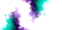 Colorful ink  in water. Abstract background. Color explosion purple and green color mix smoke
