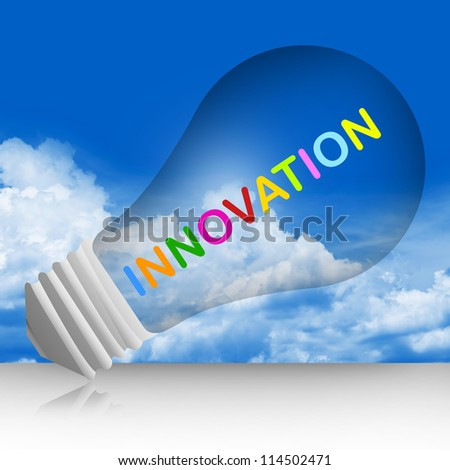 Colorful Innovation Text Inside The Light Bulb For Business Concept in Blue Sky Background
