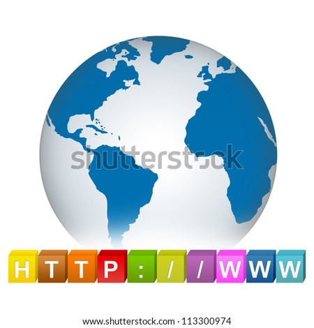 Colorful Internet URL Cube Box With Blue Earth For Internet Concept Isolated on White Background