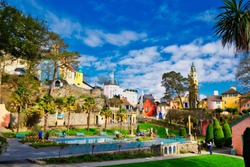 Colorful Italian Style Buildings and Gardens of Portmeirion, North Wales