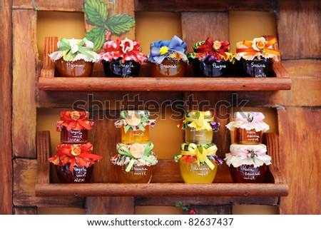 colorful jam jars arranged for sale stock photo 82637437. Black Bedroom Furniture Sets. Home Design Ideas