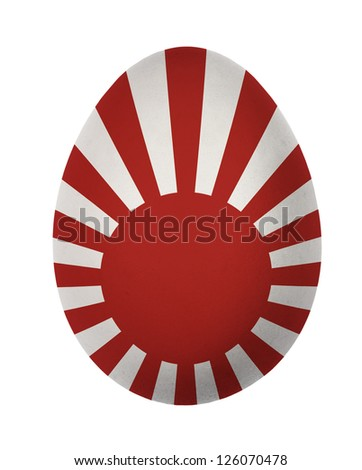 Colorful Japan flag Easter egg isolated on white background