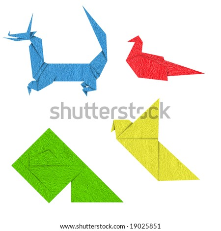 Colorful japanese origami,sparrow dragon,fish,bird