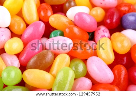 Colorful jelly beans candy as background closeup