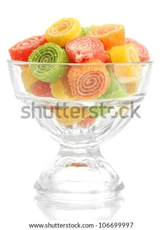 colorful jelly candies in glass bowl isolated on white