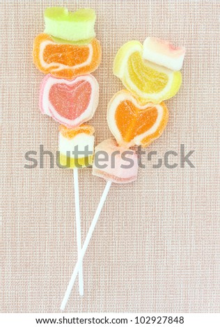 Colorful jelly candy stick