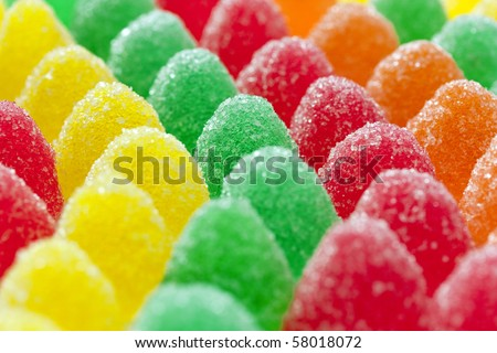 Colorful jelly fruit candies
