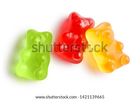 Colorful jelly gummy bears, isolated on white background Stock foto ©