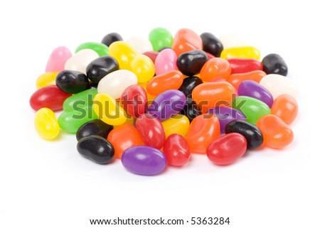 Colorful jellybeans close up shot with white background - stock photo